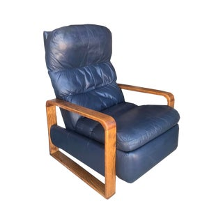 Mid-Century Modern Leather Wood Recliner Lounge Chair For Sale