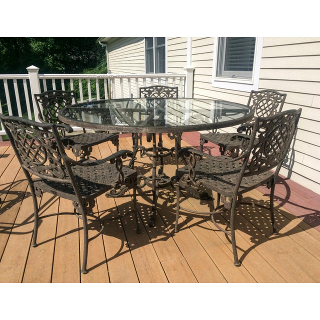 Cast Classics Outdoor Table & Arm Chairs - Set of 6 - Image 5 of 11