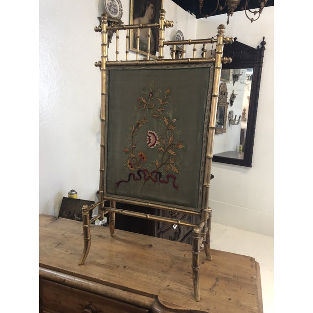 Gold Bamboo Fire Screen For Sale - Image 11 of 11