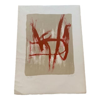 """Abstract Red and White Print Signed """"Lauby"""" For Sale"""