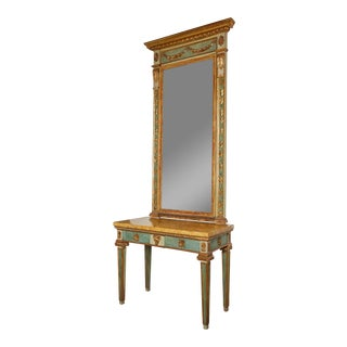 Late 18th Century Italian Parcel-Gilt and Painted Mirror Over Console For Sale