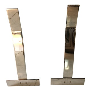 Alessandro Albrizzi Chrome Fireplace Andirons - A Pair For Sale
