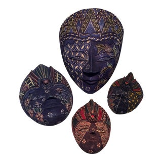 Vintage Carved And Wrapped Wooden Masks - Set of 4