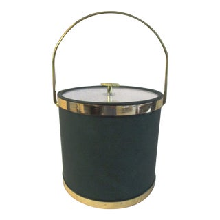 Vintage Hunter Green Faux Leather Ice Bucket For Sale