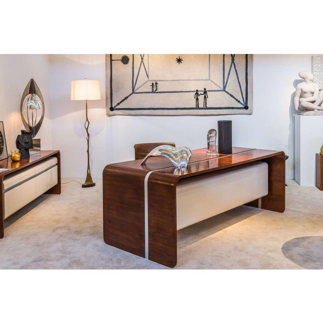 Michel Boyer Walnut and Formica Waterfall Desk For Sale - Image 9 of 11