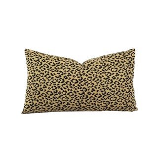 "Kravet Weaves Wild Kingdom Black and Brown Leopard Lumbar Pillow Cover - 11.5"" X 20"" Small Animal Leopard Print Cushion Cover For Sale"