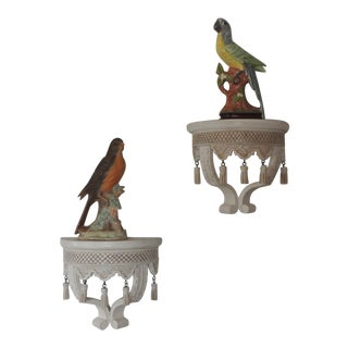 Pair of Indian Hand Carved Wood Wall Brackets With Porcelain Birds For Sale