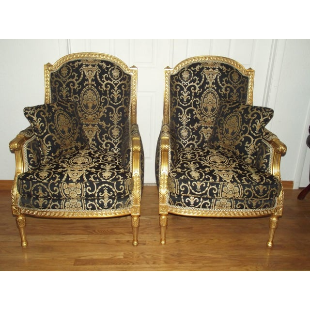 Late 20th Century Vintage Louis XVI Style Gilt Wood Bergeres - A Pair For Sale - Image 4 of 4