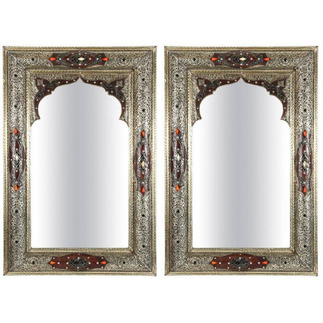 Moroccan Mirrors With Silvered Metal and Leather Wrapped - a Pair For Sale - Image 10 of 10