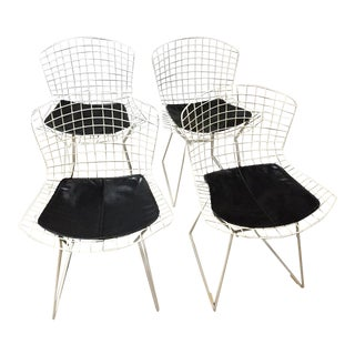 1960s Mid-Century Modern Knoll White Wire Chairs - Set of 4