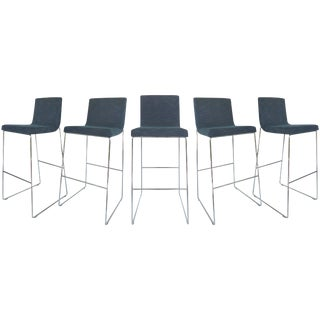 1990s Vintage Contemporary Upholstered Bar Stools- Set of 5 For Sale