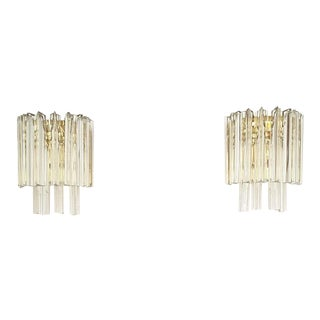 Mid-Century Camer Murano Glass Two Tier Sconces - a Pair For Sale
