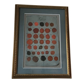 1700s-1800s Antique French Wax Seals Intaglios, Framed For Sale