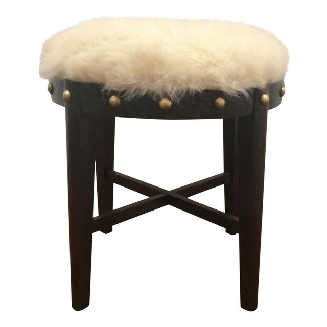 Mid Century Stool With Faux Fur For Sale - Image 4 of 4