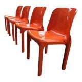 Image of Mid Century Magistretti Italian Artemide Selene Poppy Orange Chairs- Set of 4 For Sale