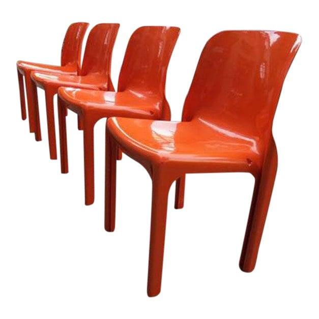 Mid Century Magistretti Italian Artemide Selene Poppy Orange Chairs- Set of 4 For Sale