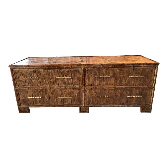 Vintage Split Reed Bamboo Credenza Sideboard For Sale