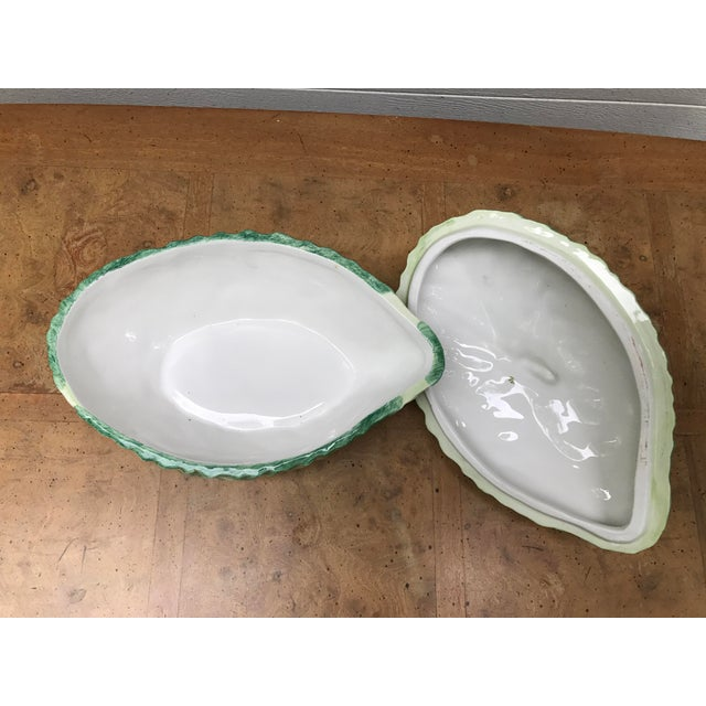 Italian Cabbage and Snail Pottery Bowl With Cover - Image 6 of 8