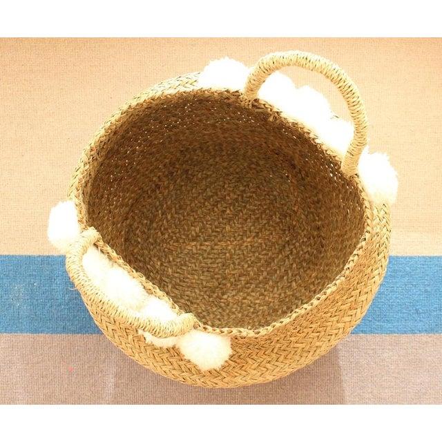 Sea Grass & White Pom Pom Basket - Image 7 of 9