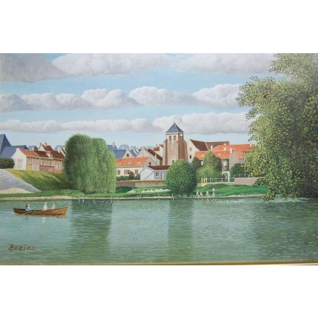 "Pierre Bazire ""Les Bords De La Marne"" Framed Oil Painting on Board - Image 3 of 6"