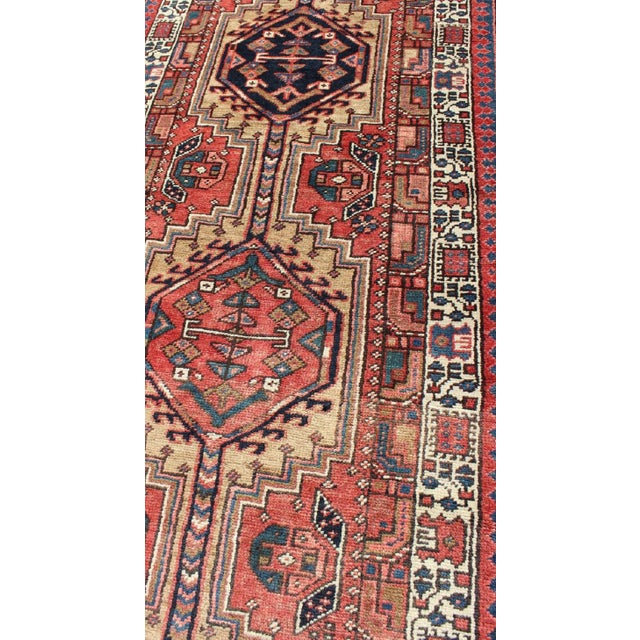 Red 1950s Semi Antique Karadjeh Runner Rug - 3′6″ × 15′6″ For Sale - Image 8 of 13