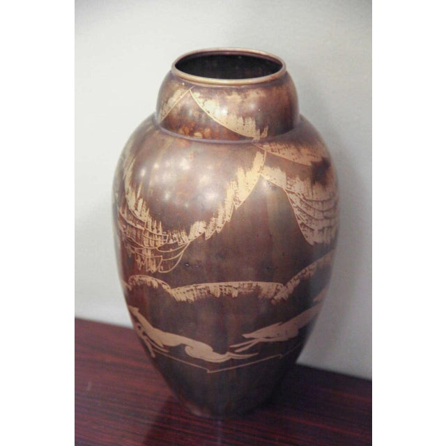 Art Deco Dinanderie Vase by Mergier For Sale - Image 4 of 8