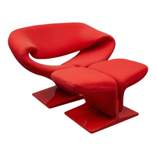 """1960s """"Ribbon"""" Lounge Chair and Ottoman by Pierre Paulin for Artifort"""