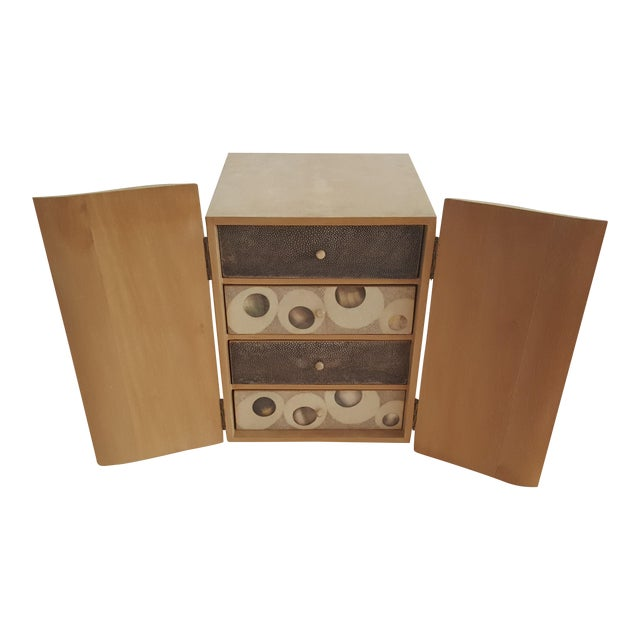 R & Y Augousti Wood & Shagreen Jewelry Box - Image 1 of 9