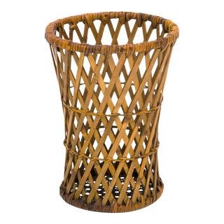 Vintage Wicker & Caned Waste Basket For Sale