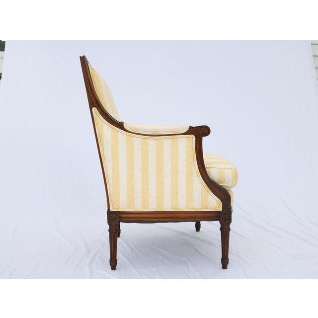 Louis XVI Style Striped Upholstery Walnut Bergère - Image 7 of 11