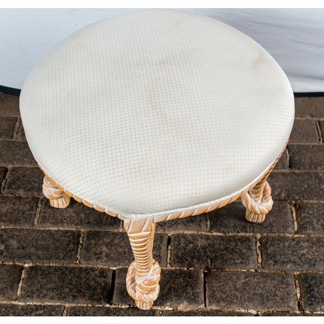 Carved Wood Faux Rope Circular Bench, French Style For Sale - Image 9 of 11