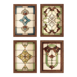 Vintage Salvaged & Restored Leaded Colored Glass Panels- Set of 4 For Sale