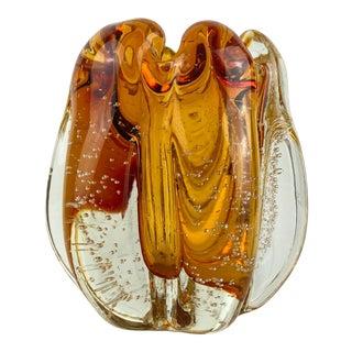 Vintage Murano Glass Amber Bullicante Vase For Sale