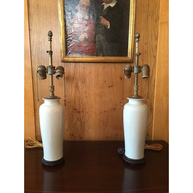 Antique Blanc De Chine Lamps With Carved Coral Pulls - a Pair For Sale - Image 13 of 13
