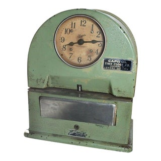 Vintage Industrial Green Domed Time Clock by Simplex Garnder Mass For Sale