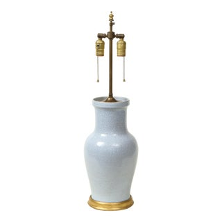 Mid 20th Century Pale Blue Craquelure Ceramic Table Lamp For Sale