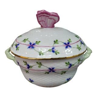 Herend Porcelain Blue Garland Pattern Butterfly Finial Lidded Sugar Bowl For Sale
