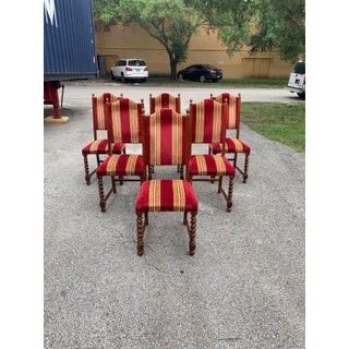 1900s Vintage Louis XIII Style Barley Twist Solid Walnut Dining Chairs - Set of 6 Preview