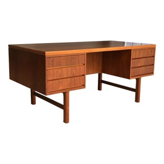1960s Danish Modern Gunni Omann Jun Model 77 Teak Double Bank Executive Tanker Desk For Sale