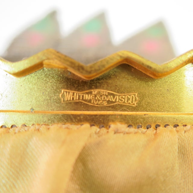 Whiting & Davis Deco Hand-Tinted Dresden Mesh Evening Purse 1920s For Sale - Image 12 of 13