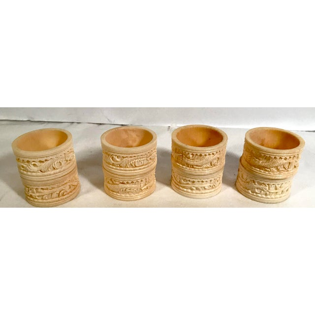 Plastic Asian Carved Dragon Motif Napkin Rings - Set of 8 For Sale - Image 7 of 7