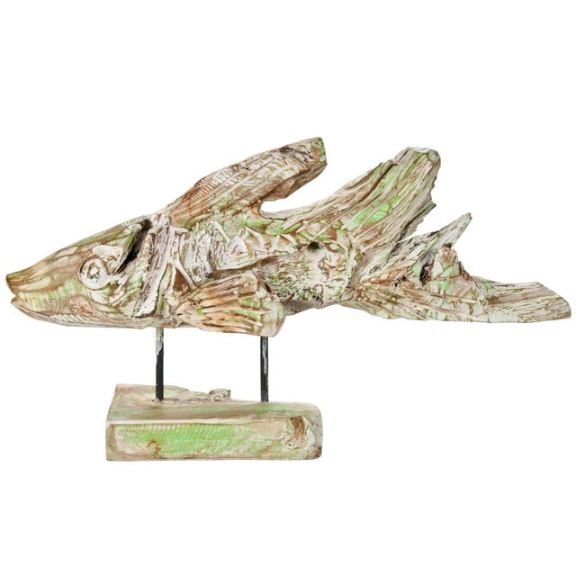 Hand Carved Driftwood Fish On Stand - Image 1 of 5