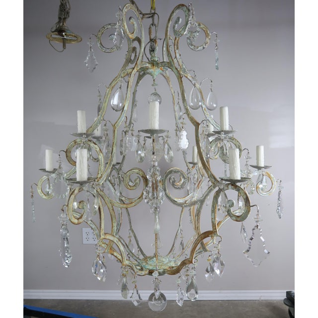 Monumental Painted Wrought Iron Crystal Chandelier For Sale - Image 11 of 11