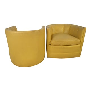 Pair of Yellow Vintage Modern Tub Chairs by Henredon For Sale