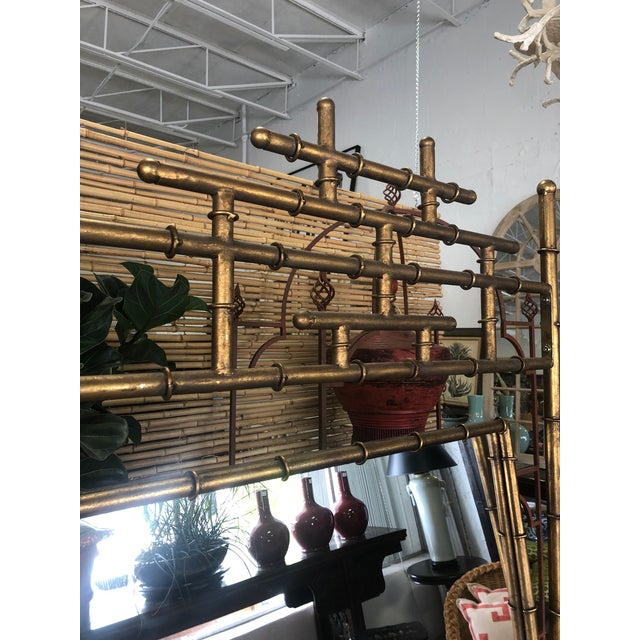 Gold Faux Bamboo Floor Mirror For Sale - Image 4 of 10