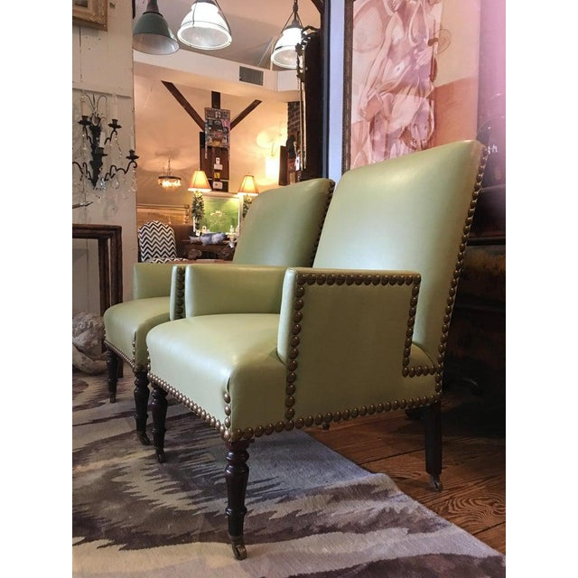 Leather Vintage Lime Green Leather George Smith Club Chairs- A Pair For Sale - Image 7 of 11