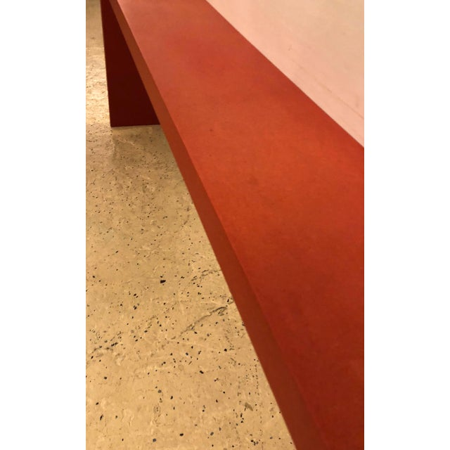 Orange Faux Paint Decorated Pier Console or Wooden Bench in Dark Orange Paint For Sale - Image 8 of 9