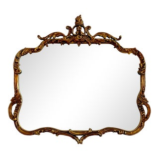 Antique Rococo Style Carved Gilt Wood Wall Mirror Preview