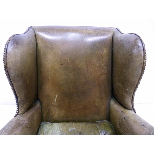 Distressed Leather 19th C. Wingback Chair - Image 10 of 10
