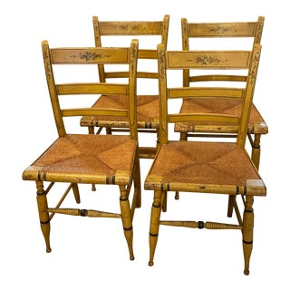 Antique Painted Wooden Chairs - Set of 4 For Sale